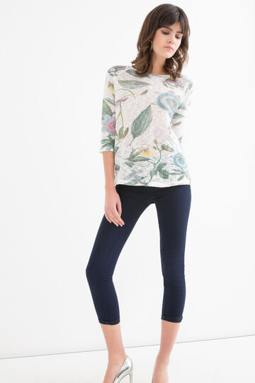 Crew neck patterned T-shirt, White/Green, hi-res