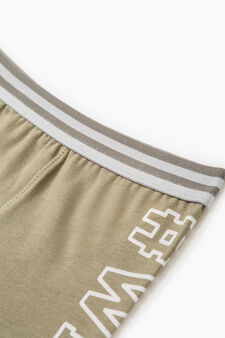 Boxer shorts in cotton with printed lettering, Green, hi-res