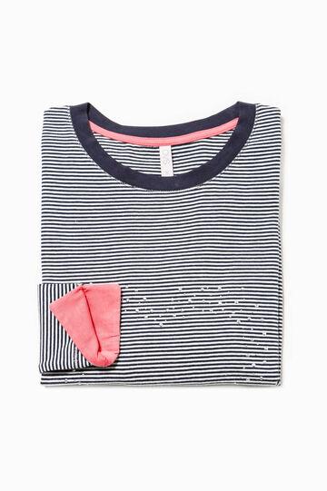 Striped pyjama top with rhinestones, White/Blue, hi-res