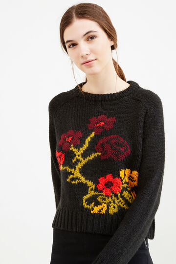 Embroidered knitted pullover, Black, hi-res