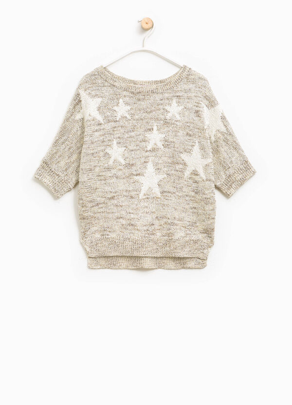 Viscose pullover with embroidered stars | OVS