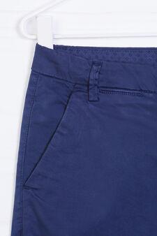 Solid colour stretch cotton Bermudas, Navy Blue, hi-res