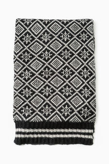 Patterned knitted scarf, Black, hi-res