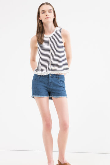 Cotton and modal striped T-shirt top, Navy Blue, hi-res