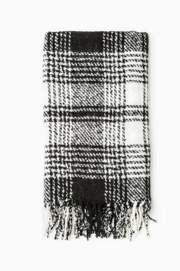 Sciarpa a quadri lavorata tricot, Nero/Bianco, hi-res