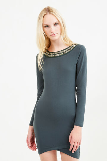 Stretch cotton dress with diamanté design, Green, hi-res
