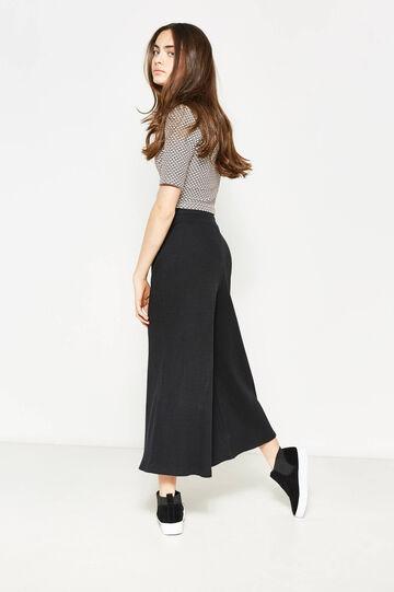 Pantalón amplio en color liso Teen, Negro, hi-res