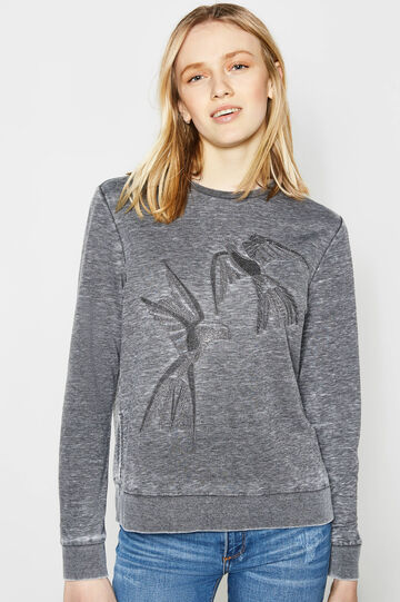 Cotton blend mélange embroidered sweatshirt, Dark Grey, hi-res