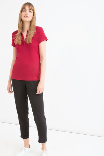 Solid colour polo shirt in 100% cotton, Dark Red, hi-res