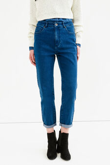 Jeans mom stretch tinta unita, Lavaggio medio, hi-res