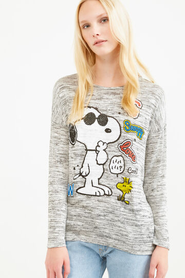 T-shirt viscosa stretch stampa Snoopy, Grigio melange, hi-res
