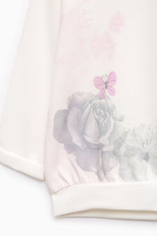 Printed cotton sweatshirt with patches, Milky White, hi-res