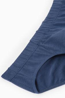 Slip cotone stretch tinta unita, Blu navy, hi-res