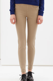 Plain stretch trousers, Beige, hi-res