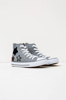 High sneakers with embroidered patches, Light Grey, hi-res