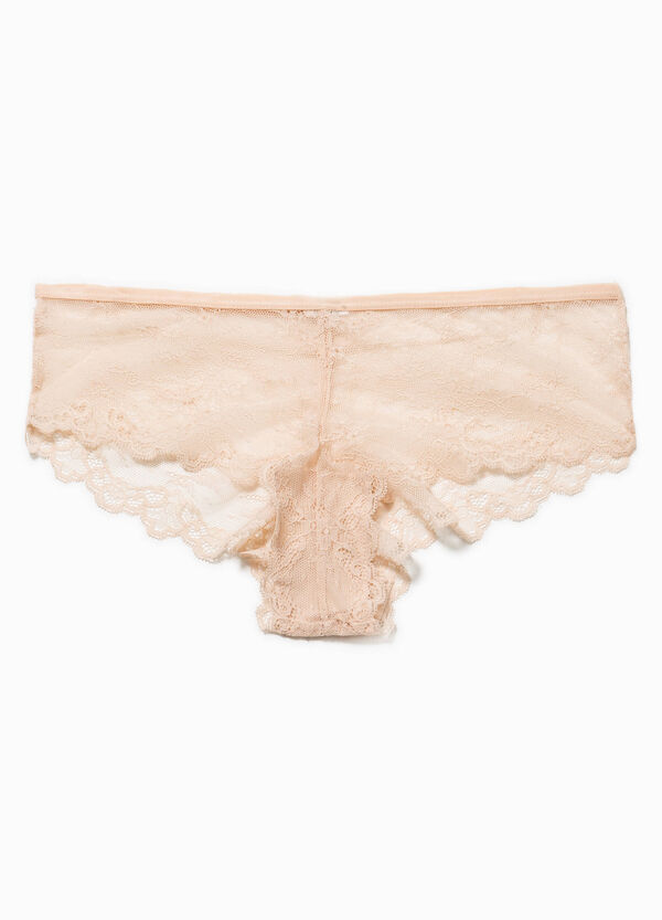 Semi-sheer lace French knickers | OVS