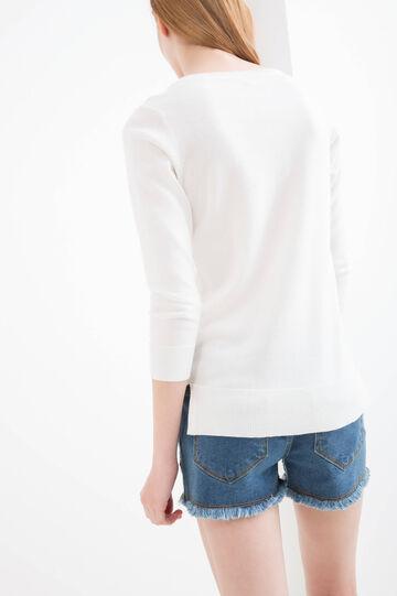 Solid colour viscose blend cardigan, White, hi-res