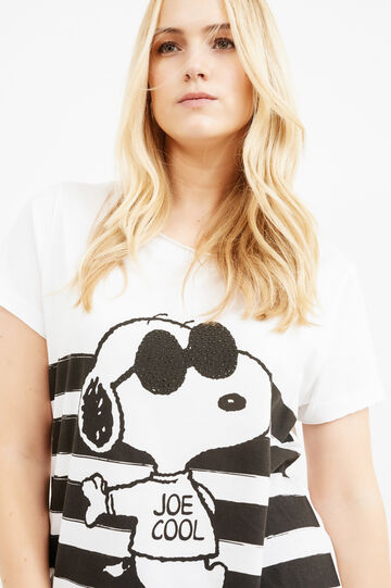 Curvy Snoopy printed cotton T-shirt, White, hi-res