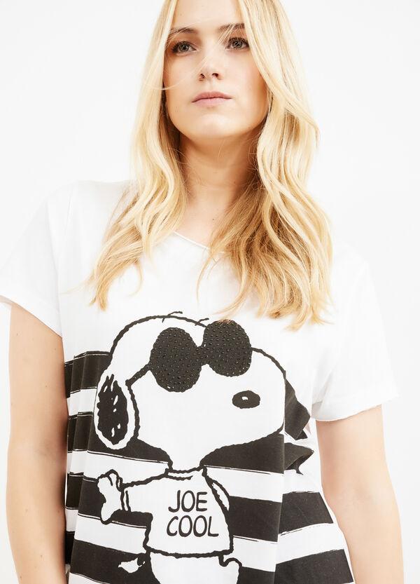 Curvy Snoopy printed cotton T-shirt | OVS