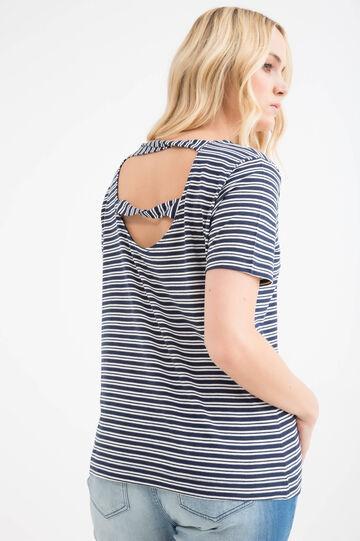 T-shirt cotone righe Curvy, Bianco/Blu, hi-res