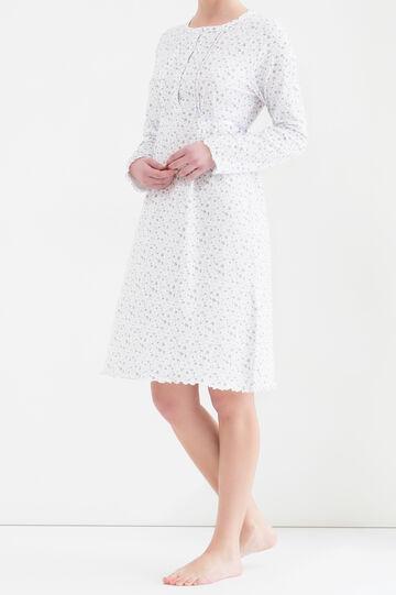 Camicia da notte puro cotone stampata, Bianco, hi-res