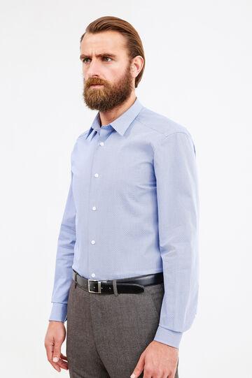 Camicia formale slim fit fantasia, Blu, hi-res