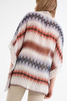 Semi-sheer openwork blouse, Multicolour, hi-res