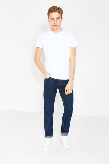Regular-fit, solid colour jeans with turned-up hems, Dark Wash, hi-res
