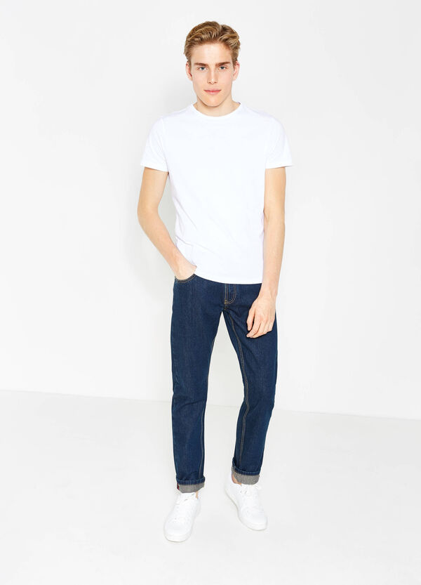 Regular-fit, solid colour jeans with turned-up hems | OVS
