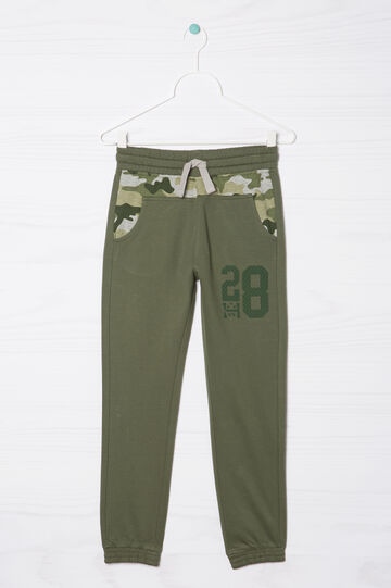 Trousers with lettering print, Green, hi-res