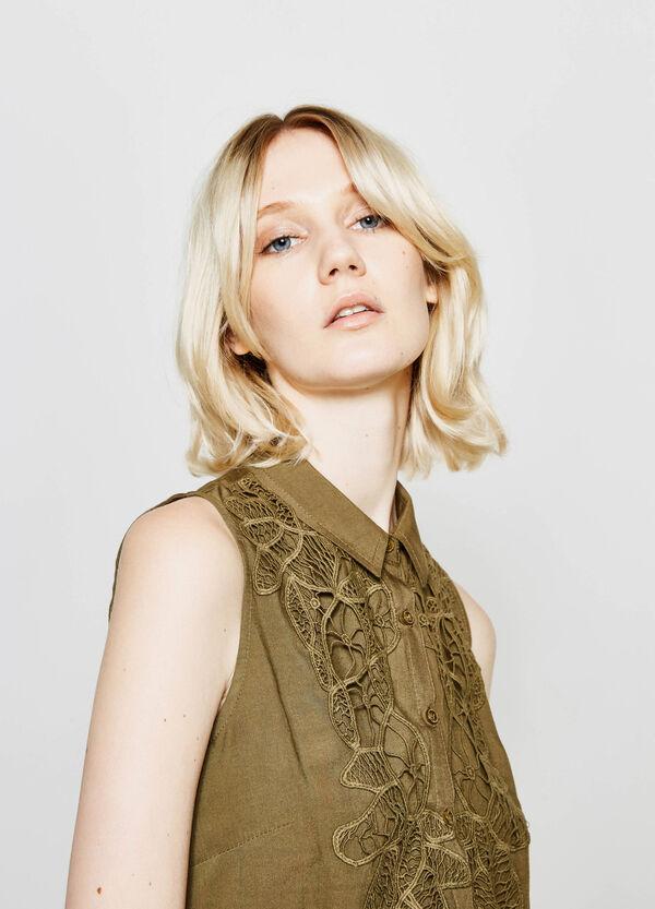 Sleeveless shirt with lace | OVS