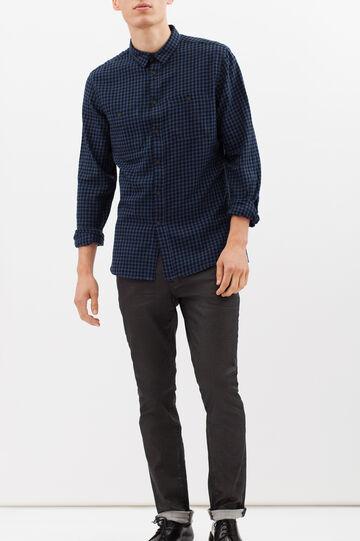 Camicia slim fit a quadretti, Blu, hi-res