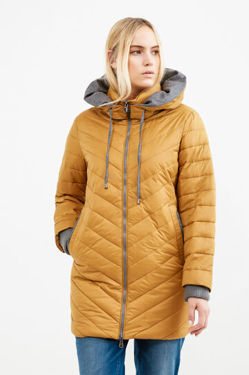 Curvy down jacket with hood and contrasting lining, Ochre Yellow, hi-res