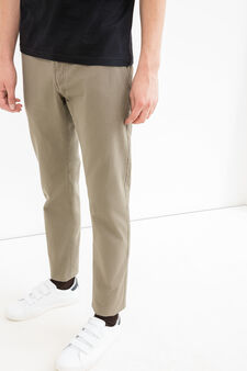 Solid colour 100% cotton trousers, Mud Brown, hi-res