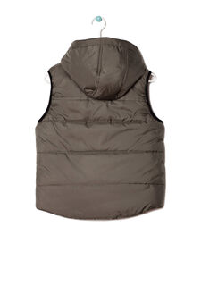Quilted waistcoat with removable hood, Green/Orange, hi-res