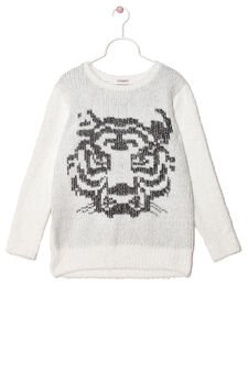 Wool blend pullover with shaggy insert., White, hi-res