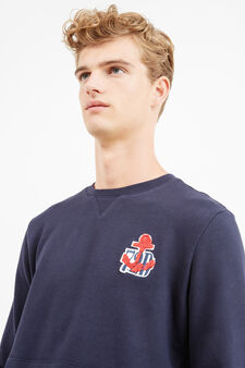 100% cotton sweatshirt with patch, Navy Blue, hi-res