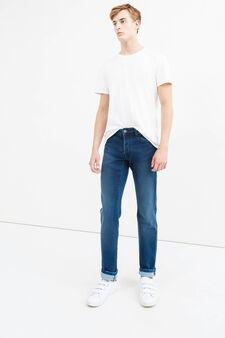 Faded effect slim-fit stretch jeans, Medium Wash, hi-res
