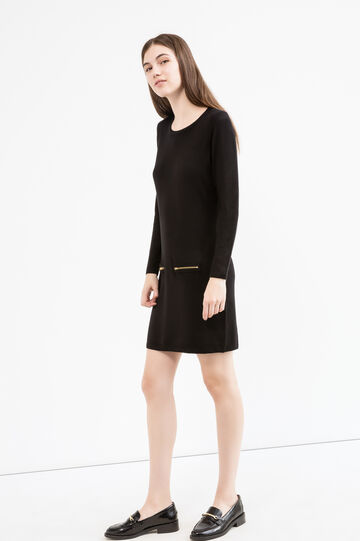 Short stretch dress with pockets, Black, hi-res