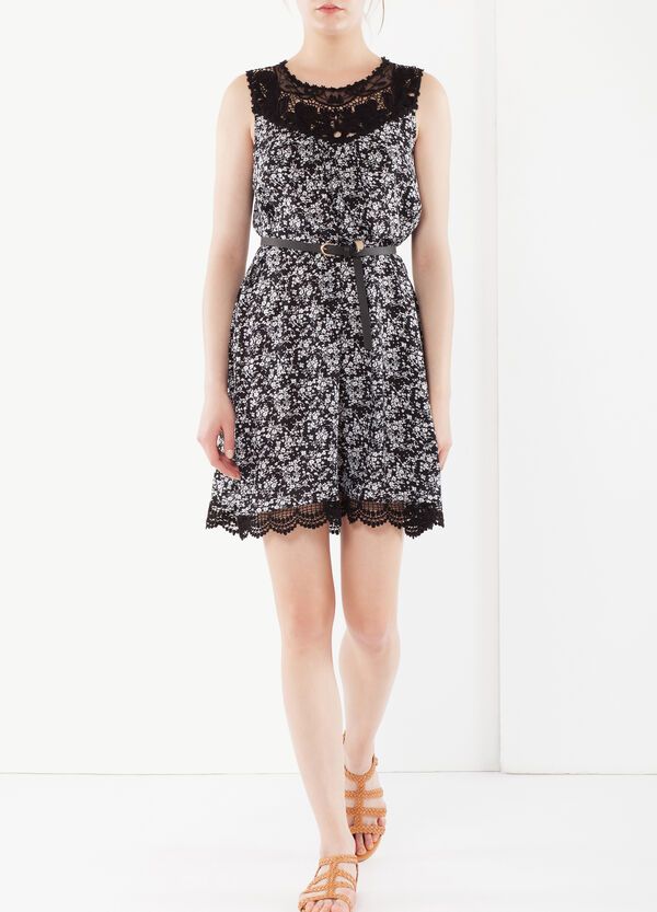 Dress with belt and lace | OVS