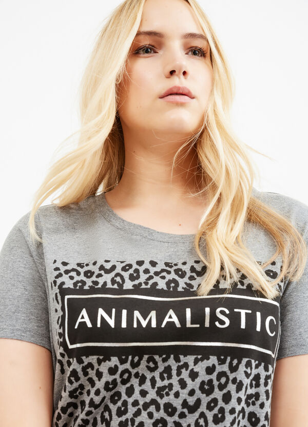 Curvy printed T-shirt in stretch cotton | OVS