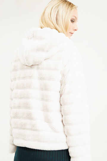 Solid colour faux fur jacket, Sand, hi-res