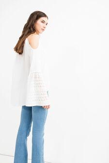 Blusa pura viscosa con pizzo e nappine, Bianco, hi-res