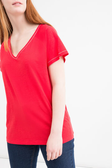 Curvy solid colour 100% cotton T-shirt., Red, hi-res