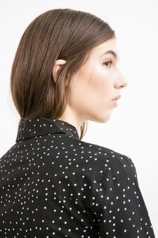 Patterned shirt in 100% cotton, Black/White, hi-res