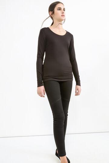 Solid colour stretch viscose T-shirt, Black, hi-res