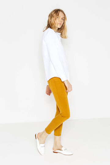 Solid colour super-skinny fit stretch trousers, Ochre Yellow, hi-res