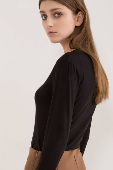 Solid colour stretch viscose T-shirt, Black, hi-res