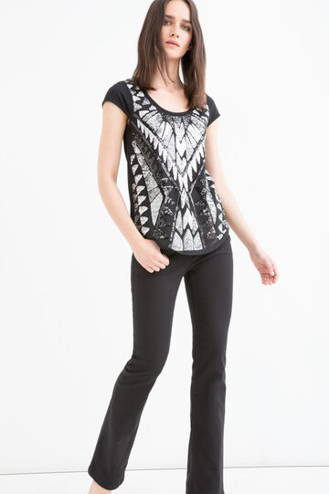 Printed cotton and modal T-shirt with sequins, Black/Grey, hi-res