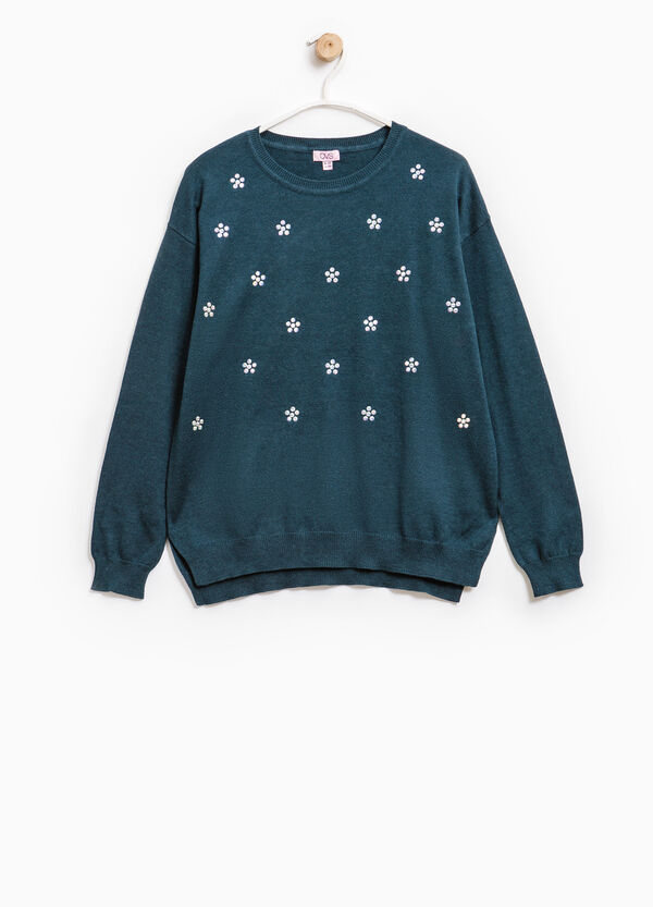 Pullover with diamantés and side slits | OVS
